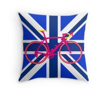 Bike Flag United Kingdom (Blue) (Big - Highlight) Throw Pillow