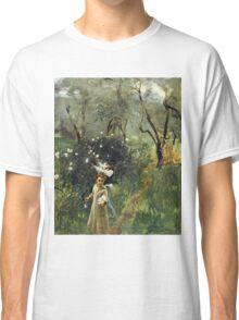 John Singer Sargent - Gathering Flowers At Twilight. Garden landscape: garden view, trees flowers, blossom, nature, botanical park, floral flora, wonderful flowers, plants, cute plant, garden, flower Classic T-Shirt