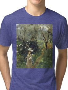 John Singer Sargent - Gathering Flowers At Twilight. Garden landscape: garden view, trees flowers, blossom, nature, botanical park, floral flora, wonderful flowers, plants, cute plant, garden, flower Tri-blend T-Shirt