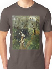 John Singer Sargent - Gathering Flowers At Twilight. Garden landscape: garden view, trees flowers, blossom, nature, botanical park, floral flora, wonderful flowers, plants, cute plant, garden, flower Unisex T-Shirt
