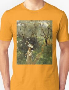 John Singer Sargent - Gathering Flowers At Twilight. Garden landscape: garden view, trees flowers, blossom, nature, botanical park, floral flora, wonderful flowers, plants, cute plant, garden, flower Unisex T-Shirt