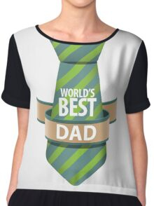 World's Best Dad necktie design. Chiffon Top