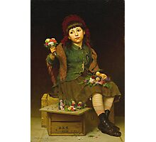 John George Brown - Buy A Posy 1881. Female child portrait: cute girl, girly, female, pretty angel, child, beautiful dress, face with hairs, smile, little, kids, baby Photographic Print