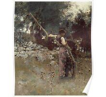 John Singer Sargent - A Capriote 1878. Woman portrait: sensual woman, girly art, female style, pretty women, femine, beautiful dress, cute, creativity, love, sexy lady, erotic pose Poster