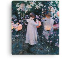 John Singer Sargent - Carnation, Lily, Lily, Rose. Girl portrait: cute girl, girly, female, pretty angel, child, beautiful dress, face with hairs, smile, little, kids, baby Canvas Print