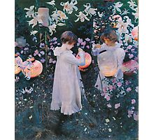 John Singer Sargent - Carnation, Lily, Lily, Rose. Girl portrait: cute girl, girly, female, pretty angel, child, beautiful dress, face with hairs, smile, little, kids, baby Photographic Print