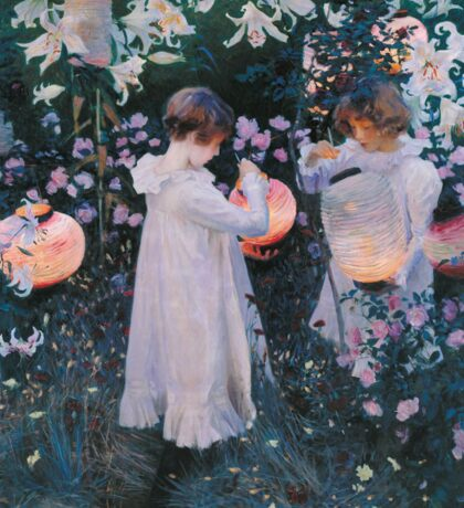 John Singer Sargent - Carnation, Lily, Lily, Rose. Girl portrait: cute girl, girly, female, pretty angel, child, beautiful dress, face with hairs, smile, little, kids, baby Sticker