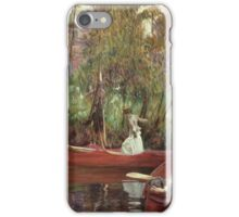 John Singer Sargent - A Boating Party. Lake landscape: trees, river, land, forest, coast seaside, waves and beach, marine naval navy, lagoon reflection, sun and clouds, nautical panorama, lake iPhone Case/Skin