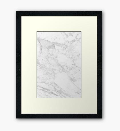 white marble Framed Print