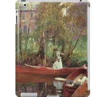 John Singer Sargent - A Boating Party. Lake landscape: trees, river, land, forest, coast seaside, waves and beach, marine naval navy, lagoon reflection, sun and clouds, nautical panorama, lake iPad Case/Skin