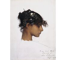 John Singer Sargent - Head Of A Capri Girl. Girl portrait: cute girl, girly, female, pretty angel, child, beautiful dress, face with hairs, smile, little, kids, baby Photographic Print