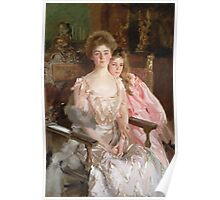John Singer Sargent - Mrs. Fiske Warren And Her Daughter Rachel. Mother with kid portrait: cute girl, mother and daughter, female, pretty angel, child, lovely family, mothers day, memory, mom, baby Poster