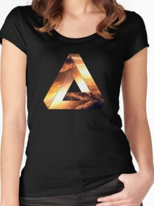 Abstract Geometry: Penrose Fire Storm (Burning Orange/Black) Women's Fitted Scoop T-Shirt