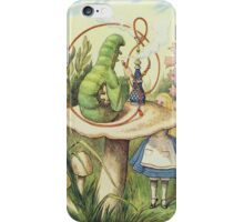 John Tenniel - Alice Meets The Caterpillar, Illustration From  Alice In Wonderland. Girl portrait: cute girl, girly, female, pretty angel, child, beautiful dress, smile, little, kids, baby iPhone Case/Skin