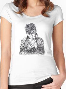 Alex Turner Scribble Drawing Women's Fitted Scoop T-Shirt
