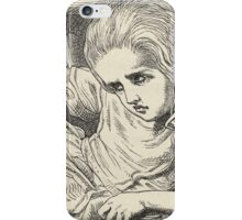 John Tenniel - Alice Grows Too Tall For The Room, From  Alice S Adventures In Wonderland. Girl portrait: cute girl, girly, female, pretty angel, child, beautiful dress, smile, little, kids, baby iPhone Case/Skin