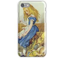 John Tenniel - Alice Upsets The Jury-Box, Illustration From  Alice In Wonderland. Girl portrait: cute girl, girly, female, pretty angel, child, beautiful dress, smile, little, kids, baby iPhone Case/Skin