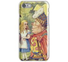 John Tenniel - Alice With The Duchess, Illustration From  Alice In Wonderland. Girl portrait: cute girl, girly, female, pretty angel, child, beautiful dress, face with hairs, smile, little, kids, baby iPhone Case/Skin