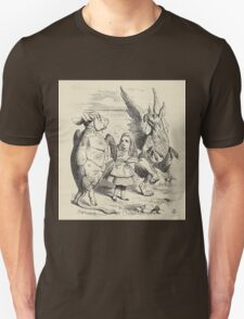 John Tenniel - Alice With The Gryphon And The Mock Turtle, From  Alice S Adventures In Wonderland. Bird painting: cute fowl, fly, wings, lucky, wild life, animal, birds, little small, bird, nature Unisex T-Shirt