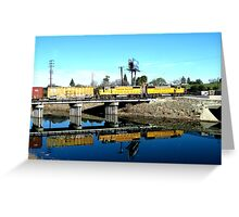 Union Pacific, Train, Water, Yellow Greeting Card
