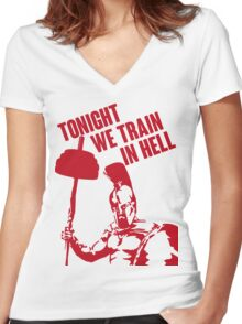 TONIGHT_WE_TRAIN_IN_HELL Women's Fitted V-Neck T-Shirt