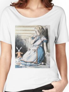 John Tenniel - The Pool Of Tears, Alice S Adventures In Wonderland. Girl portrait: cute girl, girly, female, pretty angel, child, beautiful dress, face with hairs, smile, little, kids, baby Women's Relaxed Fit T-Shirt