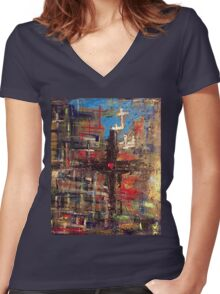 Hand painted Cross with Heart Women's Fitted V-Neck T-Shirt