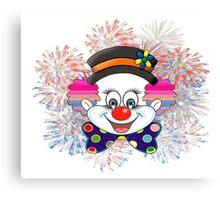 Clown.  fun and cute colorful clown, Fireworks Canvas Print