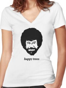 happy trees Women's Fitted V-Neck T-Shirt