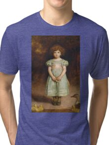 John Everett Millais - Ducklings 1889. Female child portrait: cute girl, girly, female, pretty angel, child, beautiful dress, face with hairs, smile, little, kids, baby Tri-blend T-Shirt