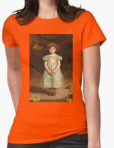 John Everett Millais - Ducklings 1889. Female child portrait: cute girl, girly, female, pretty angel, child, beautiful dress, face with hairs, smile, little, kids, baby Womens Fitted T-Shirt