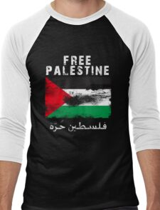 Vintage Free Palestine T shirts & Gifts Men's Baseball ¾ T-Shirt