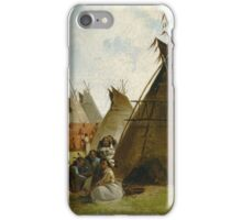 John Mix Stanley - Prairie Indian Encampment. People portrait: party, woman and man, people, family, female and male, peasants, crowd, romance, women and men, city, home society iPhone Case/Skin