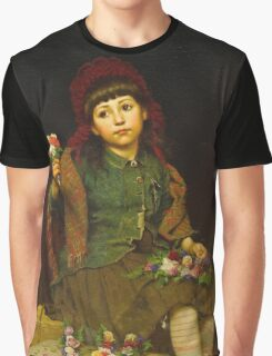John George Brown - Buy A Posy 1881. Female child portrait: cute girl, girly, female, pretty angel, child, beautiful dress, face with hairs, smile, little, kids, baby Graphic T-Shirt