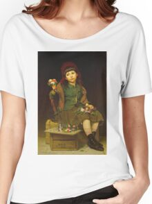 John George Brown - Buy A Posy 1881. Female child portrait: cute girl, girly, female, pretty angel, child, beautiful dress, face with hairs, smile, little, kids, baby Women's Relaxed Fit T-Shirt
