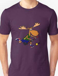 Funny Cool Moose Playing Field Hockey Cartoon Unisex T-Shirt
