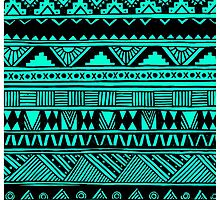 Black Mint Turquoise Cute Girly Urban Tribal Aztec Andes Abstract Geometric Pattern by hyakume