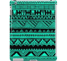 Black Mint Turquoise Cute Girly Urban Tribal Aztec Andes Abstract Geometric Pattern iPad Case/Skin