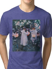 John Singer Sargent - Carnation, Lily, Lily, Rose. Girl portrait: cute girl, girly, female, pretty angel, child, beautiful dress, face with hairs, smile, little, kids, baby Tri-blend T-Shirt