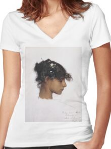 John Singer Sargent - Head Of A Capri Girl. Girl portrait: cute girl, girly, female, pretty angel, child, beautiful dress, face with hairs, smile, little, kids, baby Women's Fitted V-Neck T-Shirt