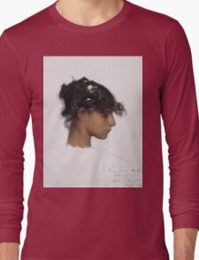John Singer Sargent - Head Of A Capri Girl. Girl portrait: cute girl, girly, female, pretty angel, child, beautiful dress, face with hairs, smile, little, kids, baby Long Sleeve T-Shirt