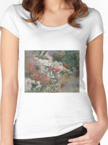 John Singer Sargent - In The Greenhouse 1888. Garden landscape: garden view, trees and flowers, blossom, nature, botanical park, floral flora, wonderful flowers, plants, cute plant, garden, flower Women's Fitted Scoop T-Shirt