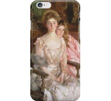 John Singer Sargent - Mrs. Fiske Warren And Her Daughter Rachel. Mother with kid portrait: cute girl, mother and daughter, female, pretty angel, child, lovely family, mothers day, memory, mom, baby iPhone Case/Skin