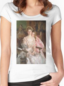 John Singer Sargent - Mrs. Fiske Warren And Her Daughter Rachel. Mother with kid portrait: cute girl, mother and daughter, female, pretty angel, child, lovely family, mothers day, memory, mom, baby Women's Fitted Scoop T-Shirt