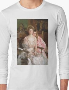 John Singer Sargent - Mrs. Fiske Warren And Her Daughter Rachel. Mother with kid portrait: cute girl, mother and daughter, female, pretty angel, child, lovely family, mothers day, memory, mom, baby Long Sleeve T-Shirt