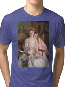 John Singer Sargent - Mrs. Fiske Warren And Her Daughter Rachel. Mother with kid portrait: cute girl, mother and daughter, female, pretty angel, child, lovely family, mothers day, memory, mom, baby Tri-blend T-Shirt