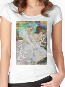 John Singer Sargent - Reading. Woman portrait: sensual woman, girly art, female style, pretty women, femine, beautiful dress, cute, creativity, love, sexy lady, erotic pose Women's Fitted Scoop T-Shirt