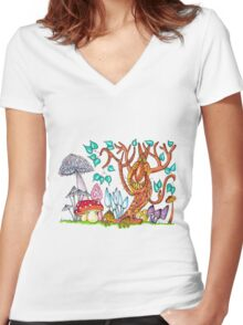 Freaky fungus forest Women's Fitted V-Neck T-Shirt