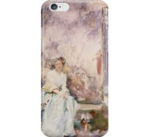 John Singer Sargent - The Garden Wall 1910. Woman portrait: sensual woman, girly art, female style, pretty women, femine, beautiful dress, cute, creativity, love, sexy lady, erotic pose iPhone Case/Skin