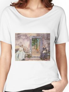 John Singer Sargent - The Garden Wall 1910. Woman portrait: sensual woman, girly art, female style, pretty women, femine, beautiful dress, cute, creativity, love, sexy lady, erotic pose Women's Relaxed Fit T-Shirt
